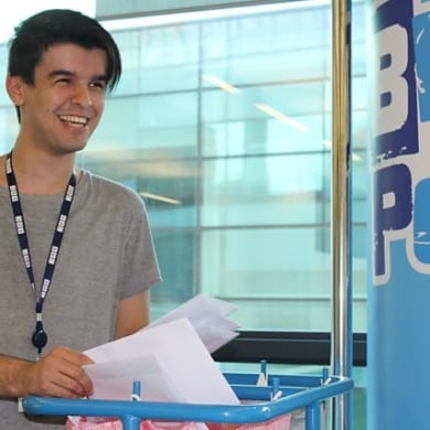 Koceila in his role as Correspondence Assistant at Blue Peter