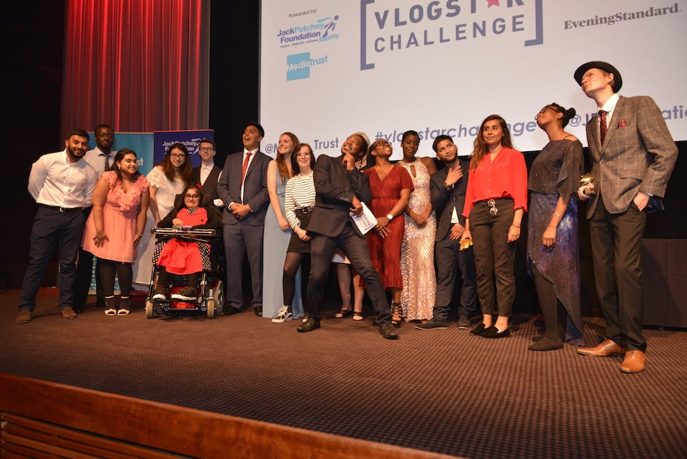2018 Vlog star finalists on stage at Bafta
